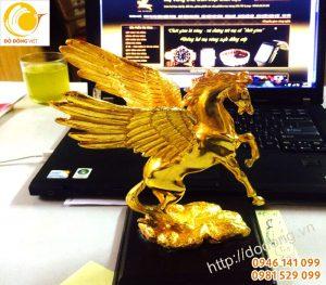Ngựa có cánh mạ vàng, tượng ngựa để bàn làm việc 25cm