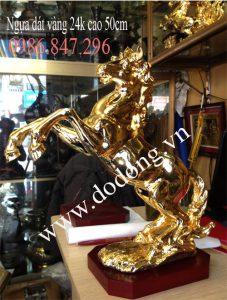 Ngựa phong thủy 45cm dát vàng quà biếu tặng Vip