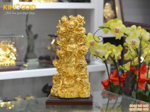 Tượng Quán Thế Âm Bồ Tát tọa Cửu Long dát vàng 24k
