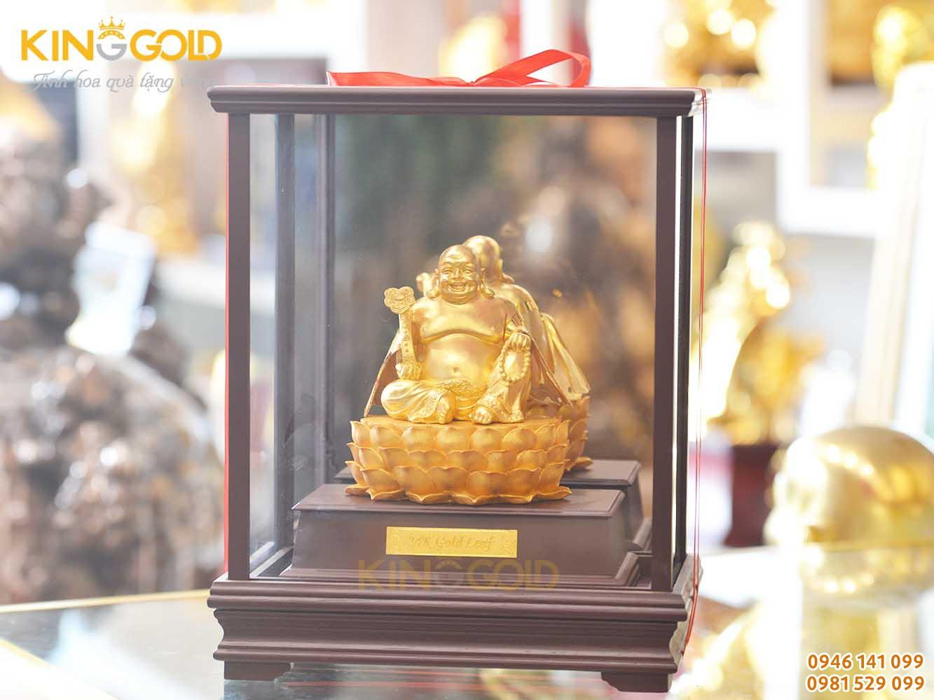 Đúc tượng Phật Di Lặc ngồi đài sen mạ vàng 9999